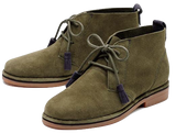 Cyra Catelyn WorryFree Suede® Boots in Olive w/Navy Tassels