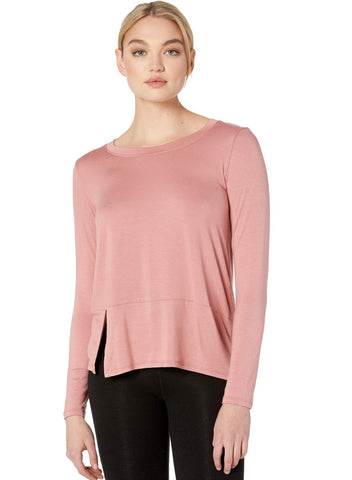Out front split pullover in pink lei