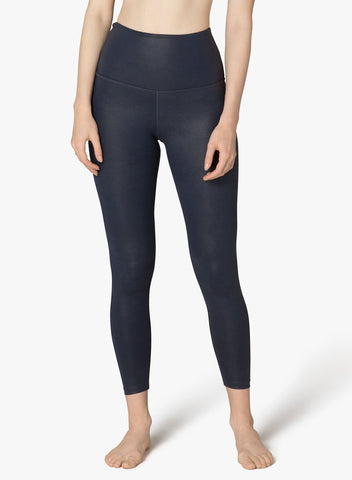 Matte pearlized high waisted midi leggings in nocturnal navy