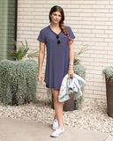 Perfect pocket baseball tee dress in navy/white