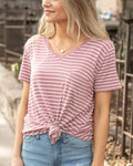 Perfect pocket tee in mauve stripe
