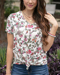Perfect v-neck tee in floral vines