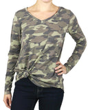 Long sleeve perfect pocket tee in washed camo