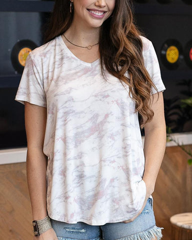 Perfect v-neck tee in blush marble