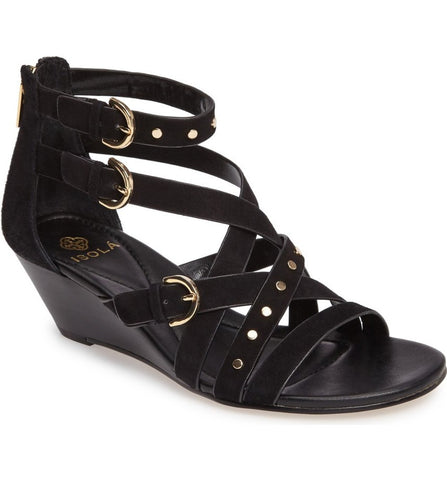 Petra studded wedges in black suede