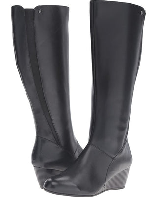 Pynical Rhea Black Tall Waterproof Wedge Boots