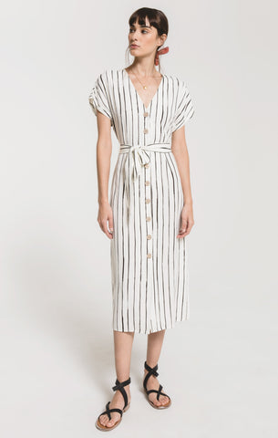 La Spezia striped dress in gardenia