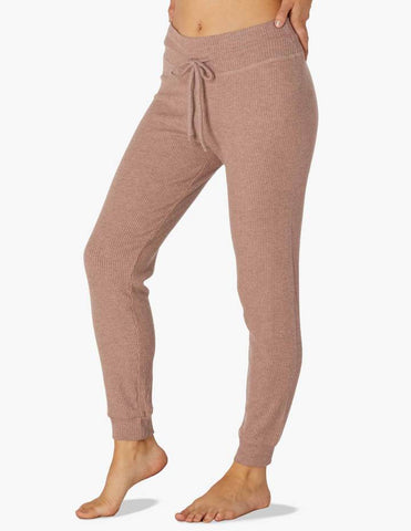 Brushed up ribbed midi jogger in tinted rose heather
