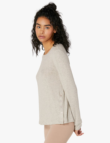 Your line buttoned pullover in oatmeal heather