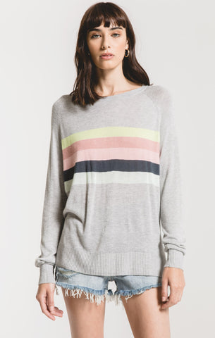 Salerno multi-stripe sweater in heather grey