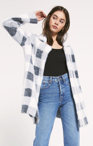 Charlotte plaid sweater coat in black/white