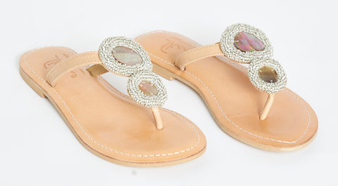 Camel rayas shell beaded sandals