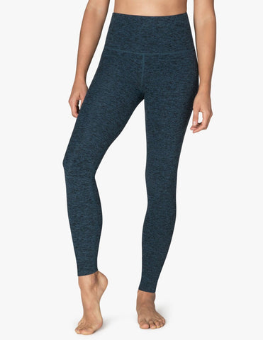 High waisted spacedye legging in deep sapphire/black