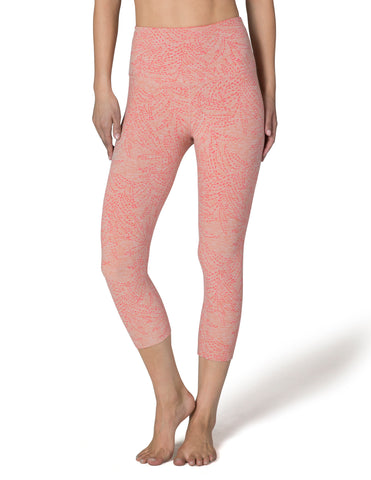 High waisted spacedye capri in jungle fern rainwash pink