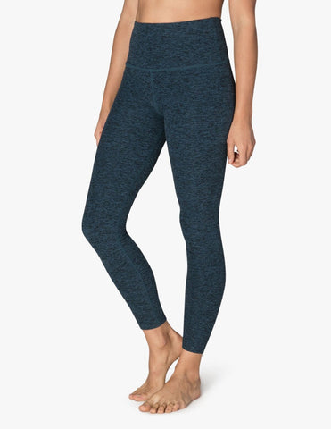 High waisted spacedye midi legging in deep sapphire/black