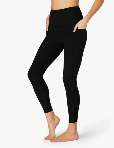 Spacedye subtle zip high waisted midi leggings in darkest night
