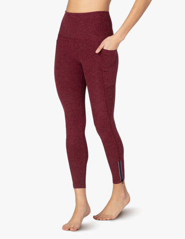 Spacedye subtle zip high waisted midi leggings in burgundy