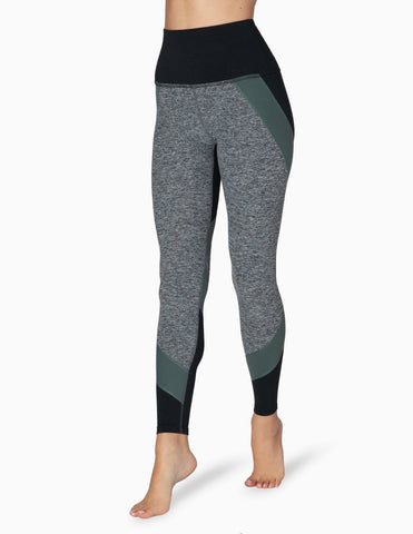 Colorblocked high waisted long leggings in black