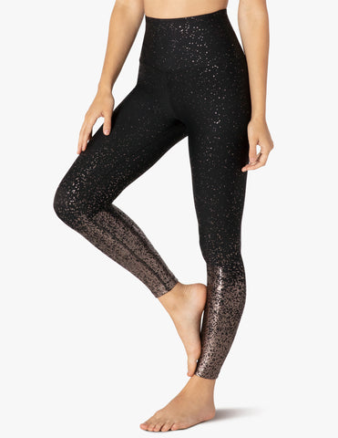 Alloy ombre high waisted midi legging in black w/gunmetal speckle