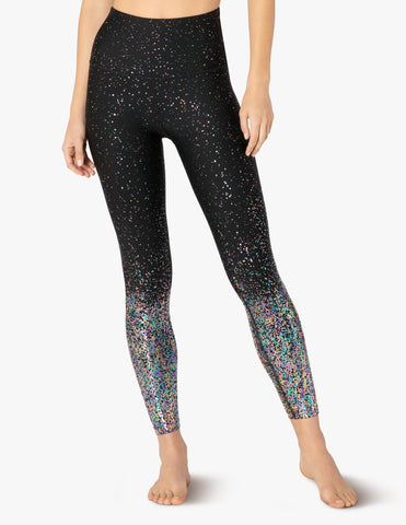 Alloy ombre high waisted midi legging in black w/iridescent speckle