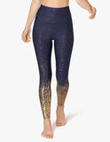 Alloy ombre high waisted midi legging in navy w/gold speckle