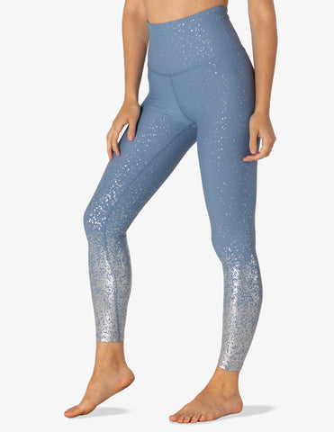Alloy ombre high waisted midi legging in serene blue w/silver speckle