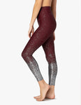 Alloy ombre high waisted midi legging in burgundy w/gunmetal speckle