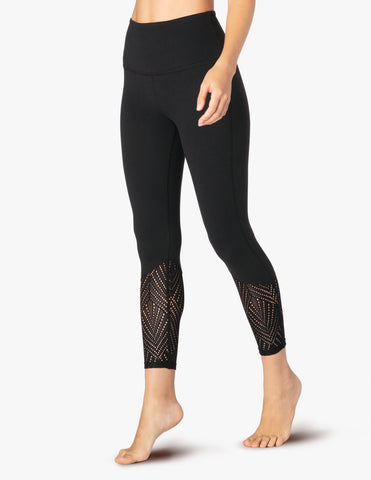 Mesh in line high waisted capris in jet black