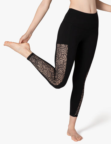 Lace way high waisted midi leggings in jet black