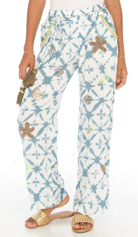 Seaside beaded beach pants in ocean