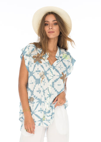 Seaside beaded shirt in Ocean