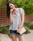 Sanibel embroidered top in navy/white