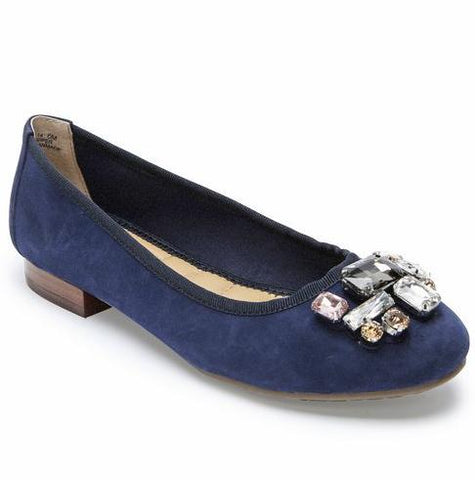 Sapphire embellished flats in blue night