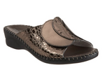 Paola adjustable leather slide sandals in Pewter