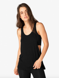 On and off ribbed 2-fer tank in black