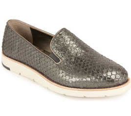 Paulette slip-on in pewter snake