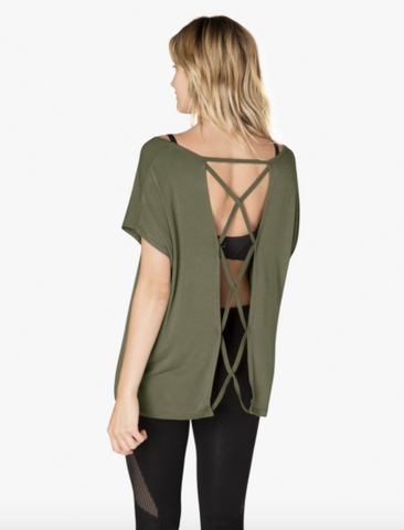 Modal back out tee in aviator green