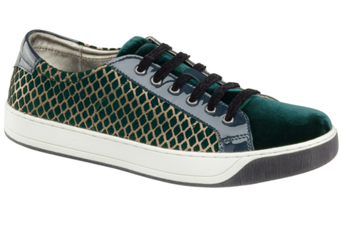 Emerson velvet & suede sneakers in teal