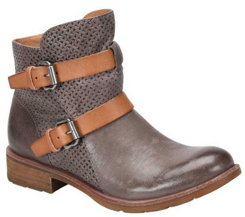 Baywood partially perforated boots in grey/luggage
