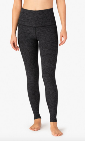 High waisted spacedye legging in black/charcoal