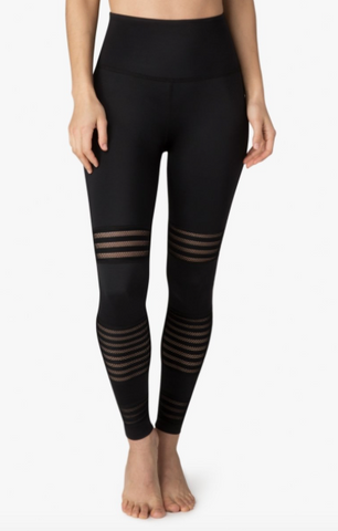 High waisted mesh to impress midi leggings in black