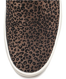 Sneak name slip-on sneakers in flock leopard/black