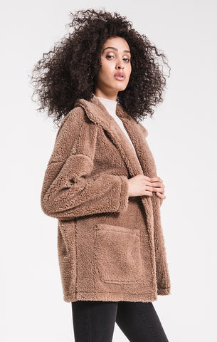 Sherpa teddy bear jacket in toffee