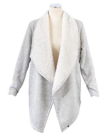 Long sleeve sherpa cardigan in grey/ivory