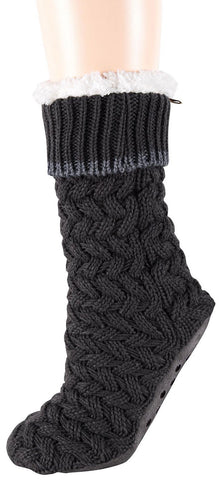 Slipper socks in charcoal