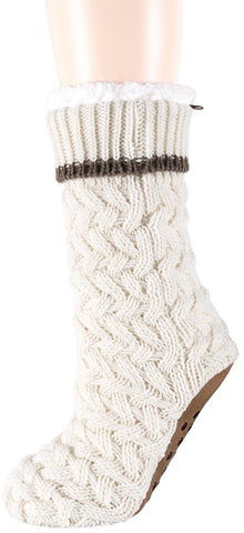 Slipper socks in ivory