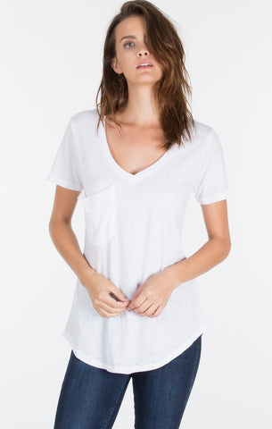 Short sleeve pocket tee in solid white