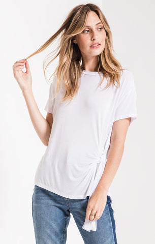 Side wrap tee in white
