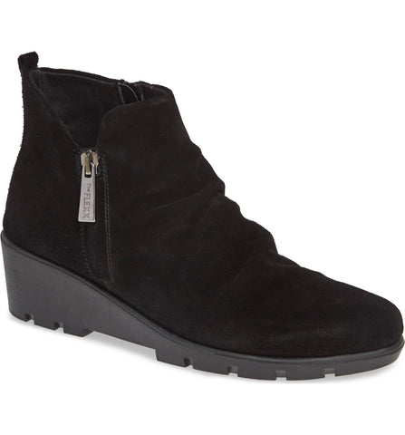 Sling Shot black waterproof suede wedge booties