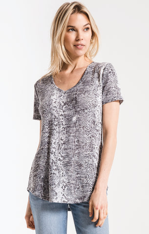 Snakeskin v-neck tee in grey